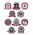 Aviation and air travel banners or emblems vector image vector image