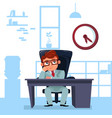 business man boss sit at office desk looking at vector image vector image
