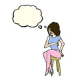 cartoon woman sitting on bar stool with thought vector image vector image