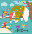 christmas card with sleeping polar bear and vector image