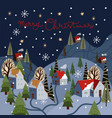 christmas greeting card with winter mountain vector image vector image