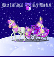 christmas sketch with animated horse with a pink vector image vector image