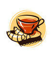 cup of tea and croissant tea party drink dessert vector image