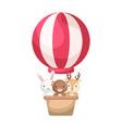 cute baby animals in hot air balloon