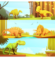 Dinosaurus 3 Horizontal Retro Banners Collection vector image vector image