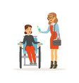 disabled young woman in wheelchair smiling female vector image