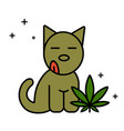 dog and marijuana leaf vector image vector image