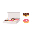 donuts glazed with colorful sugar and chocolate vector image vector image