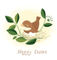 Easter background bird in nest vector image