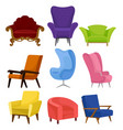 flat vecrtor set of cozy armchairs retro and vector image