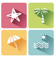 four summer and tourism icons set with shade vector image vector image