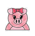 grated adorable female pig cute animal vector image vector image
