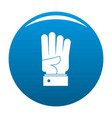 hand four icon blue vector image vector image