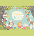 happy children and animals celebrating easter in vector image vector image