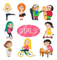 happy girls characters in various actions vector image vector image
