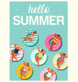 hello summer banner with gils on inflatable swim vector image