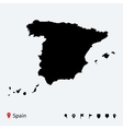 High detailed map of Spain with navigation pins vector image