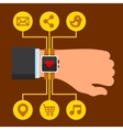 Infographics Arm with a Smartwatch in Flat Design vector image vector image