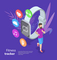 isometric flat concept of fitness tracker vector image
