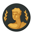 julius caesar gold portrait and olive branches vector image
