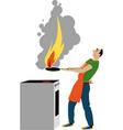 kitchen fire hazard vector image vector image