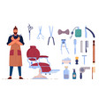 man barber and accessory set on white background vector image
