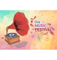 Music background with gramophone and notes vector image vector image