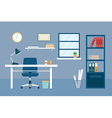 office workplace and equipment flat design vector image