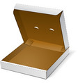 Open White Blank Carton Pizza Box On White vector image vector image