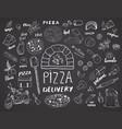 Pizza menu hand drawn sketch set pizza