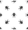 robot pattern seamless black vector image vector image
