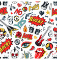 rock sing on seamless pattern vector image vector image
