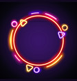 round colorful neon frame vector image