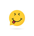 satisfied emoji speech bubble logo vector image vector image