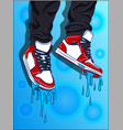 sneakers with blue liquid melting vector image