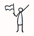 stick figure person waving flag hand drawn vector image vector image