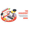 time management planning schedule isometric banner vector image