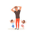 tired father and his children who want to play vector image vector image
