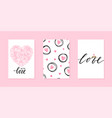 valentines day and wedding card template hand vector image