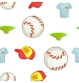 Baseball elements pattern cartoon style vector image