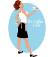 Waitress with coffee and biscuits vector image