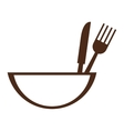 bowl with eating utensils icon vector image