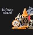 background with nautical symbols and items vector image vector image