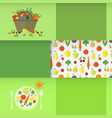 banners with fruits and vegetables vector image vector image