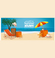 beach with summer holidays icons vector image
