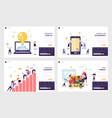 business start up landing page set mobile app vector image vector image