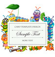 card template with caterpillars around border vector image vector image