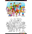 children and teen characters group color book vector image vector image