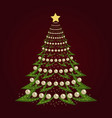 christmas tree background with balls vector image
