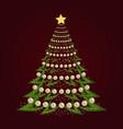christmas tree background with christmas balls vector image